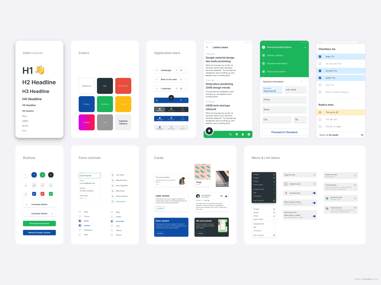 Material Design UI kit - Figma components & App templates - Free