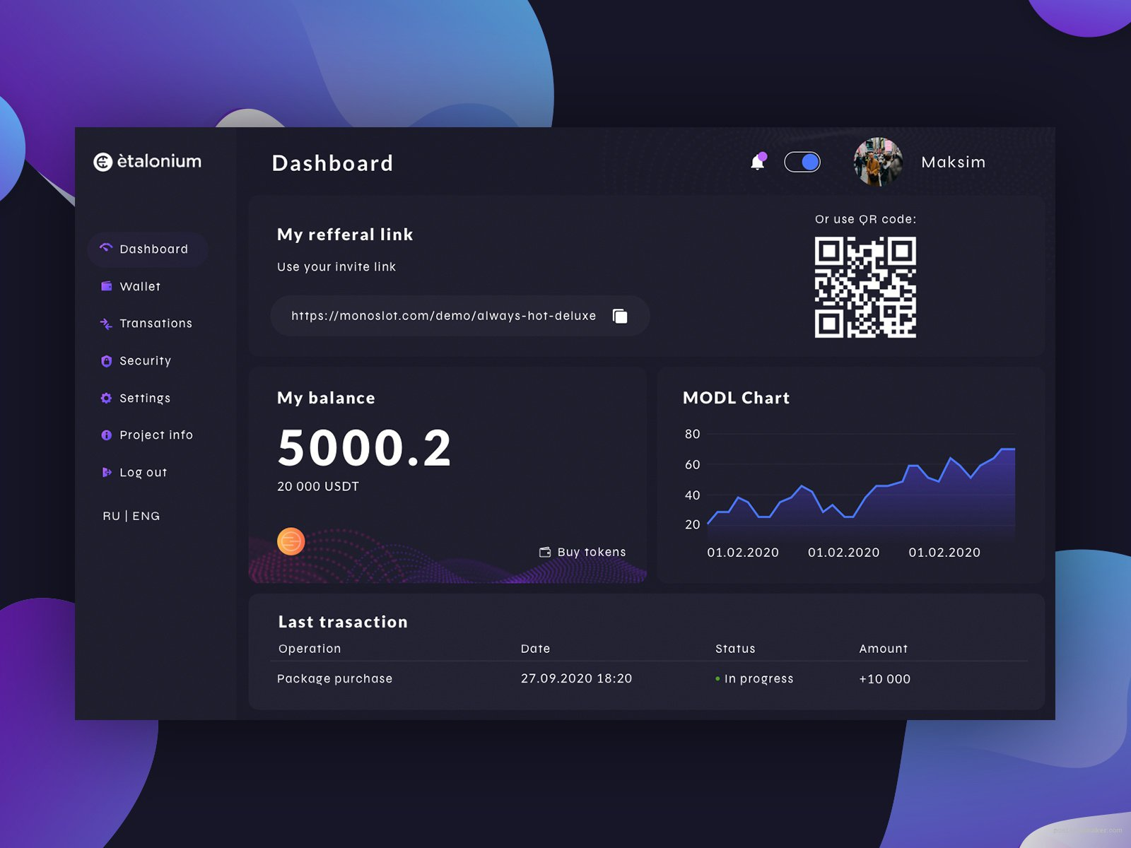Dasboard for Cryptocyrrency