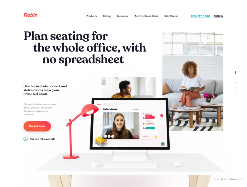 Office, Workspace Feature's Page Design / New Robin's website
